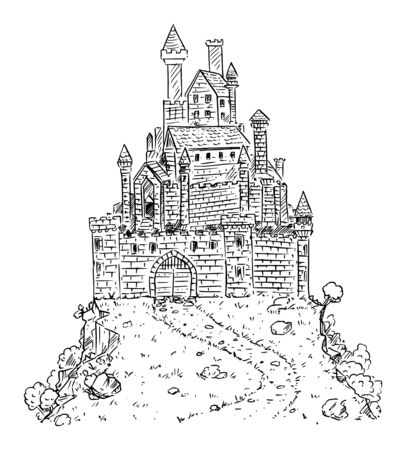 Vector black and white cartoon illustration or drawing of medieval or fantasy castle on hill.