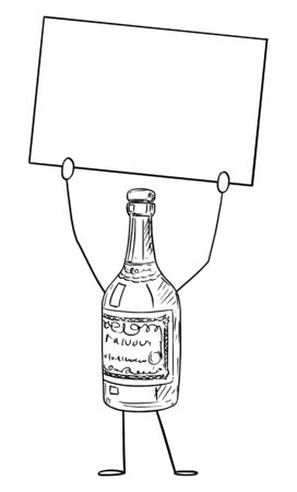 Vector illustration of cartoon liquor bottle character holding empty sign in hand.Advertisement or marketing design.