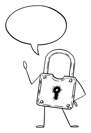 Vector illustration of cartoon lock or padlock character with speech bubble.Security or privacy advertisement or marketing design.