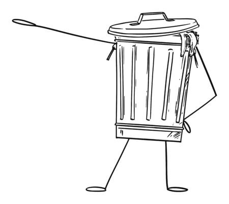 Vector illustration of cartoon garbage bin or can character showing or pointing at something by hand. Recycling or environmental advertisement or marketing design.
