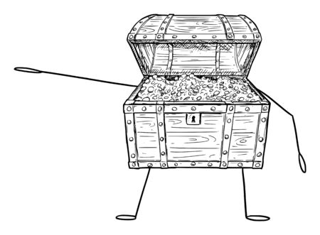 Vector illustration of cartoon open treasure pirate chest character full of gold coins showing or pointing at something by hand. Economy or financial advertisement or marketing design.