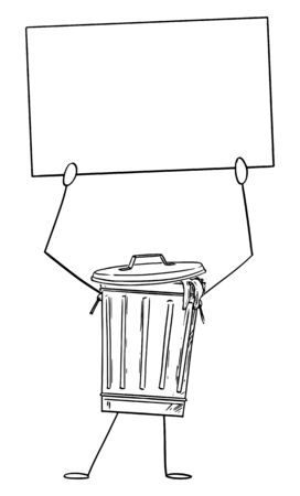 Vector illustration of cartoon garbage bin or can character holding empty sign in hand. Recycling or environmental advertisement or marketing design.