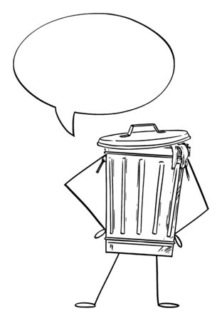Vector illustration of cartoon garbage bin or can character with speech bubble. Recycling or environmental advertisement or marketing design.