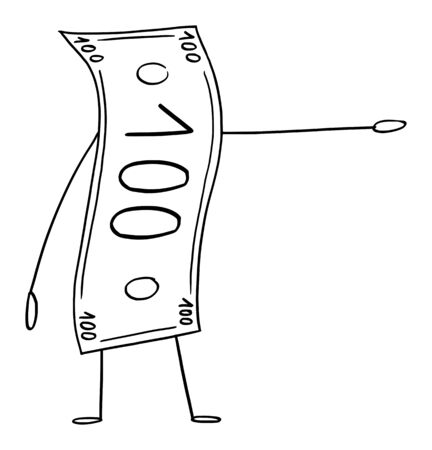 Vector illustration of cartoon banknote or currency bill character showing or pointing at something by hand. Economy or financial advertisement or marketing design.