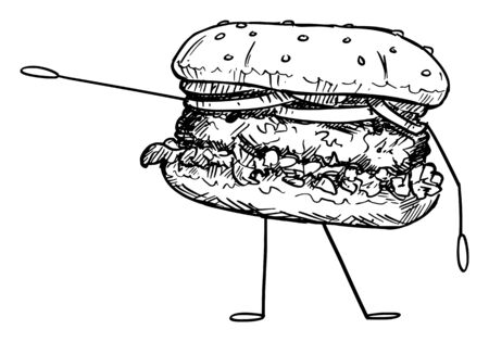 Vector illustration of cartoon hamburger or burger character showing or pointing at something by hand. Healthy lifestyle and junk or fast food advertisement or marketing design.