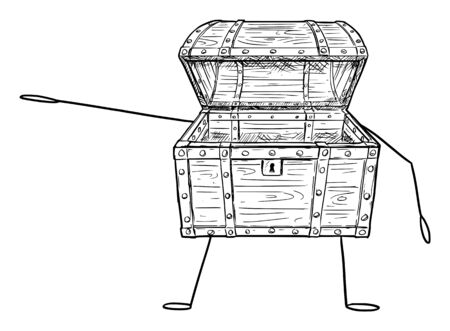 Vector illustration of cartoon empty open treasure pirate chest character showing or pointing at something by hand. Economy or financial advertisement or marketing design.