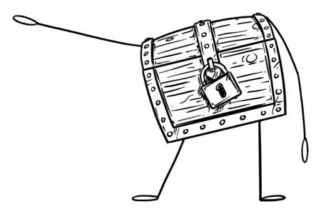 Vector illustration of cartoon locked treasure pirate chest character showing or pointing at something by hand. Economy or financial advertisement or marketing design. Ilustracja