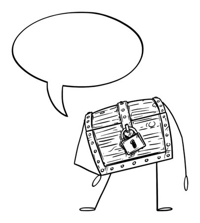 Vector illustration of cartoon locked treasure pirate chest character with speech bubble. Economy or financial advertisement or marketing design.