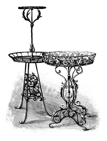 Antique vintage line art illustration, engraving or drawing of ornamental beautiful cast iron plant stands or tables . From book Plants in Room, Prague, 1898.