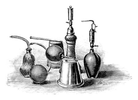 Antique vintage line art illustration, engraving or drawing of perfume or water bottles with sprayer . From book Plants in Room, Prague, 1898.