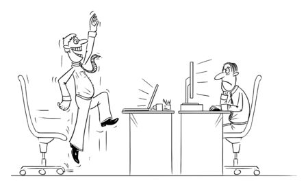 Vector funny comic cartoon drawing of office worker or businessman working on computer celebrating success, another man is frustrated.