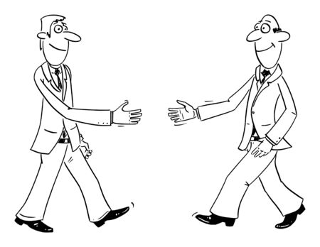 Vector funny comic cartoon drawing of two businessmen shaking hands or handshaking. Business concept of cooperation and friendship.