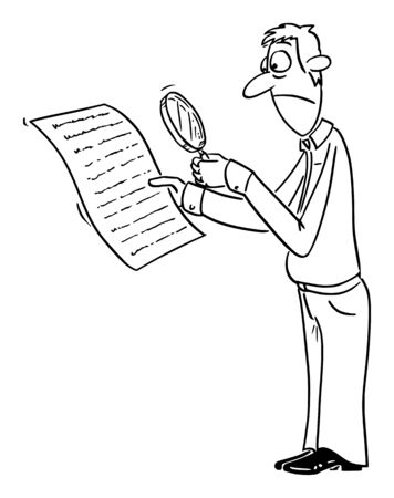Vector funny comic cartoon drawing of upset man or businessman reading contract or document, with magnifier glass to find something hidden in small text or font. Stock Illustratie