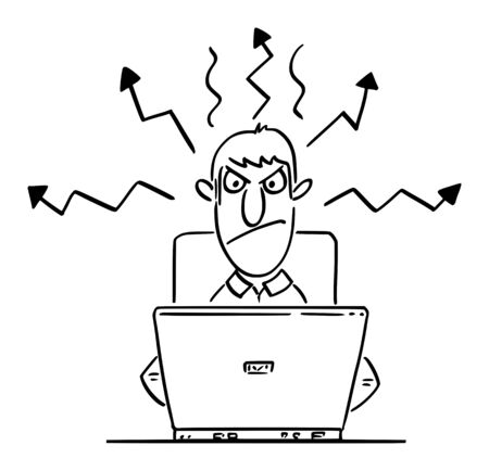 Vector funny comic cartoon drawing of angry office worker or man or businessman working or typing on computer. Vetores