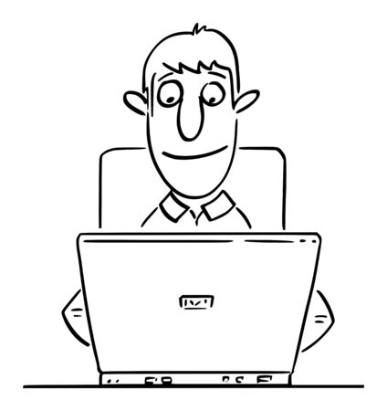 Vector funny comic cartoon drawing of happy office worker or man or businessman or student or author working or typing on computer.