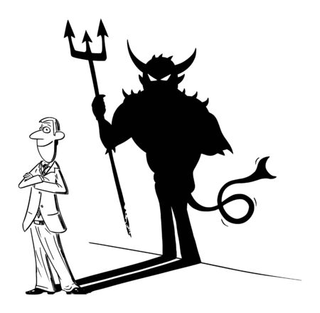Vector funny comic cartoon drawing of man or businessman and his superhero or heroic shadow on wall. Business concept of success and inconsiderateness.