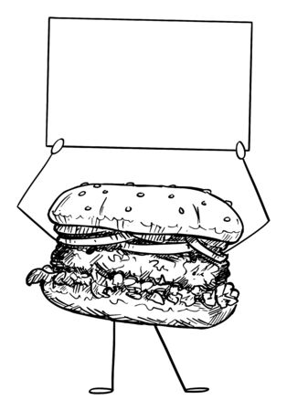 Vector illustration of cartoon hamburger or burger character holding empty sign in hands. Healthy lifestyle and junk or fast food advertisement or marketing design. Illustration