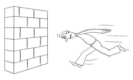 Dessin de bande dessinée comique drôle de vecteur d'homme entêté ou d'homme d'affaires courant la tête de mur d'abord. Concept d'entreprise de confiance, de motivation et de succès.