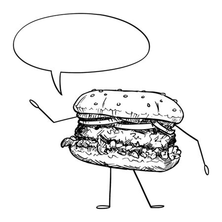 Vector illustration of cartoon hamburger or burger character with speech bubble. Healthy lifestyle and junk or fast food advertisement or marketing design.
