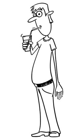 Vector funny comic cartoon drawing of man drinking soda pop or water or fizzy drink or lemonade or drink by straw.