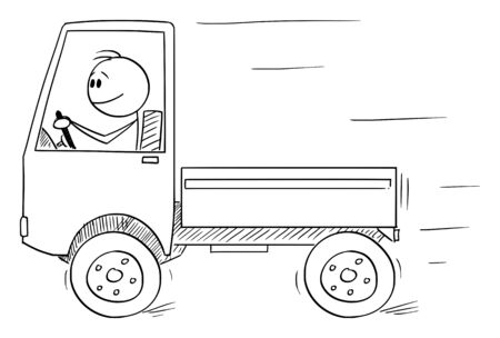 Vector cartoon stick figure drawing conceptual illustration of smiling man or driver driving small unloaded truck. Transportation or logistic business concept.