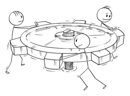 Vector cartoon stick figure drawing conceptual illustration of group or business team of men or businessmen pushing big cog or geared wheel together. Concept of teamwork. 일러스트