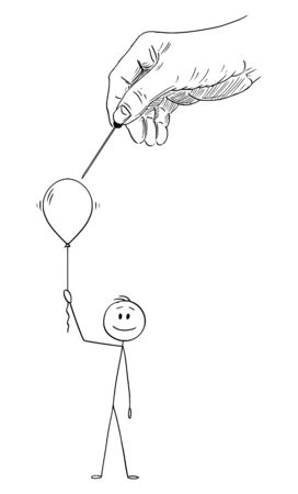 Vector cartoon stick figure drawing conceptual illustration of happy man or businessman holding inflatable party balloon or helium air ball, while big hand of god or fortune or destiny is breaking it.