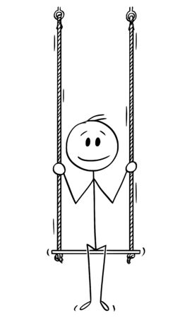 Vector cartoon stick figure drawing conceptual illustration of man or businessman sitting on swing.
