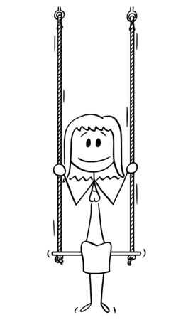 Vector cartoon stick figure drawing conceptual illustration of woman or businesswoman sitting on swing.