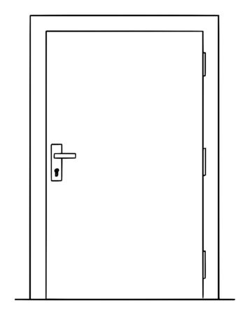 Vector cartoon drawing conceptual illustration of simple closed or locked door .