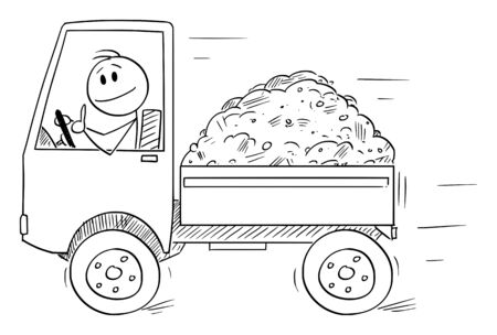 Vector cartoon stick figure drawing conceptual illustration of smiling man or driver driving small truck showing thumb up. Transportation or logistic business.