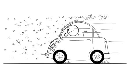 Vector cartoon stick figure drawing conceptual illustration of man driving car through swarm of bugs, flies, mosquito or insect.