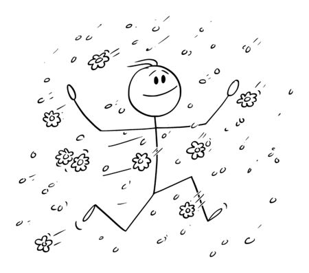Vector cartoon stick figure drawing conceptual illustration of happy man or businessman running in rain of falling flowers, petal,bloom or blossom.