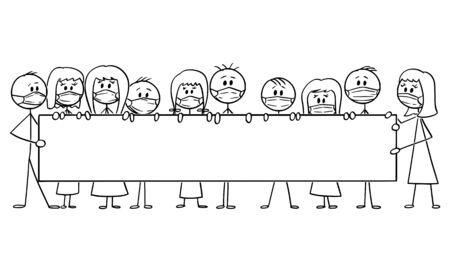 Vector cartoon stick figure dessin illustration conceptuelle d'un groupe de personnes portant des masques faciaux et tenant une grande pancarte vide. Concept de pollution, de coronavirus, d'infection et d'épidémie.