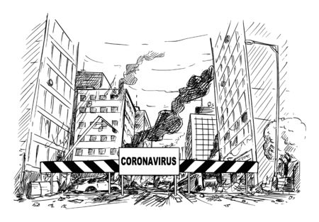Vector cartoon stick figure drawing conceptual illustration of quarantine area roadblock blocking destroyed city street after coronavirus covid-19 epidemic or infection panic.
