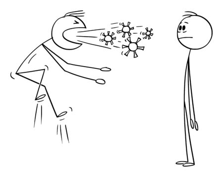 Vector cartoon stick figure drawing conceptual illustration of sick infected man coughing or sneezing and spreading infection of coronavirus covid-19 or flu.