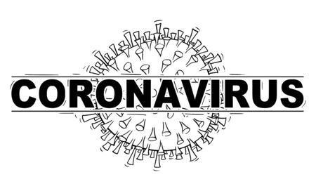 Vector black and white conceptual drawing, illustration or design of coronavirus covid-19 in logo or header style.