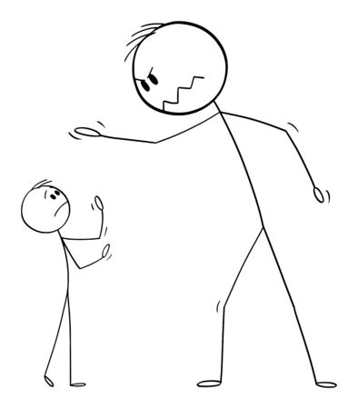 Vector cartoon stick figure drawing conceptual illustration of big man yelling at small man or boss yelling at worker or employee.