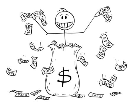 Vector cartoon stick figure drawing conceptual illustration of man or businessman or banker throwing around dollar currency banknotes or cash from the big money bag. Quantitative easing or helicopter money concept.