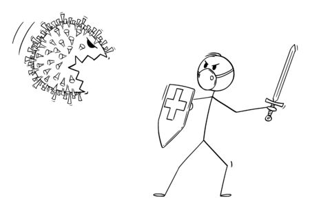 Vector cartoon stick figure drawing conceptual illustration of medical staff, doctor or medic or nurse wearing face mask fighting with sword and shield with coronavirus covid-19 monster.