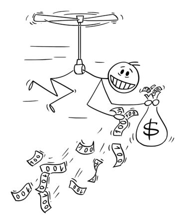 Vector cartoon stick figure drawing conceptual illustration of man or businessman flying like helicopter and throwing money away. Concept of quantitative easing and recession. Ilustração