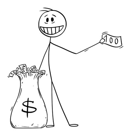 Vector illustration of man, politician or businessman giving money away from dollar bag. Concept of quantitative easing and recession. Ilustração