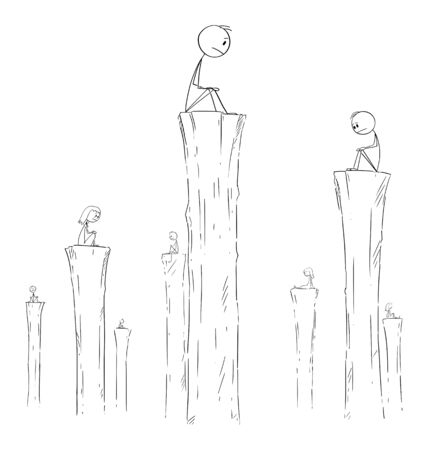 Vector cartoon stick figure drawing conceptual illustration of people sitting alone on high columns. Concept of loneliness, solitude or solitariness. 向量圖像