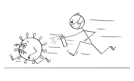 Vector cartoon stick figure drawing conceptual illustration of man chasing running coronavirus COVID-19 virus with disinfection or disinfectant.