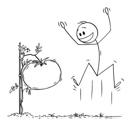 Vector cartoon stick figure drawing conceptual illustration of man or farmer, jumping and celebrating big or giant tomato growing on plant on his garden or farm.