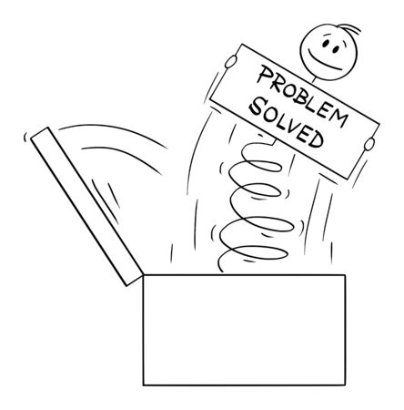 Vector cartoon stick figure drawing conceptual illustration of man or businessman jumping on the spring out of the box with problem solved sign.