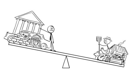 Vector cartoon stick figure drawing conceptual illustration of rich man and poor farmer on balance scales. Food is more important then gold and property in crisis.