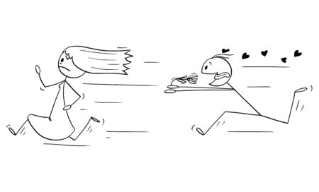 Vector cartoon stick figure drawing conceptual illustration of running woman or girl and amorous man in love chasing hear with flower. Concept of Valentine, date or relationship.