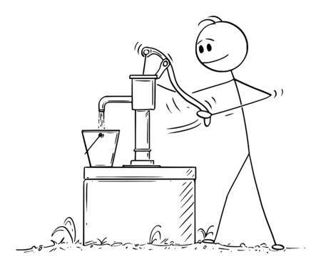 Vector cartoon stick figure drawing conceptual illustration of man or farmer pumping or drawing water from well .