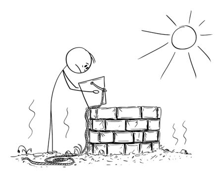 Vector cartoon stick figure drawing conceptual illustration of depressed man or farmer looking in to empty bucket or pail from dry well. Concept or shortage of water, weather, aridity and drought.